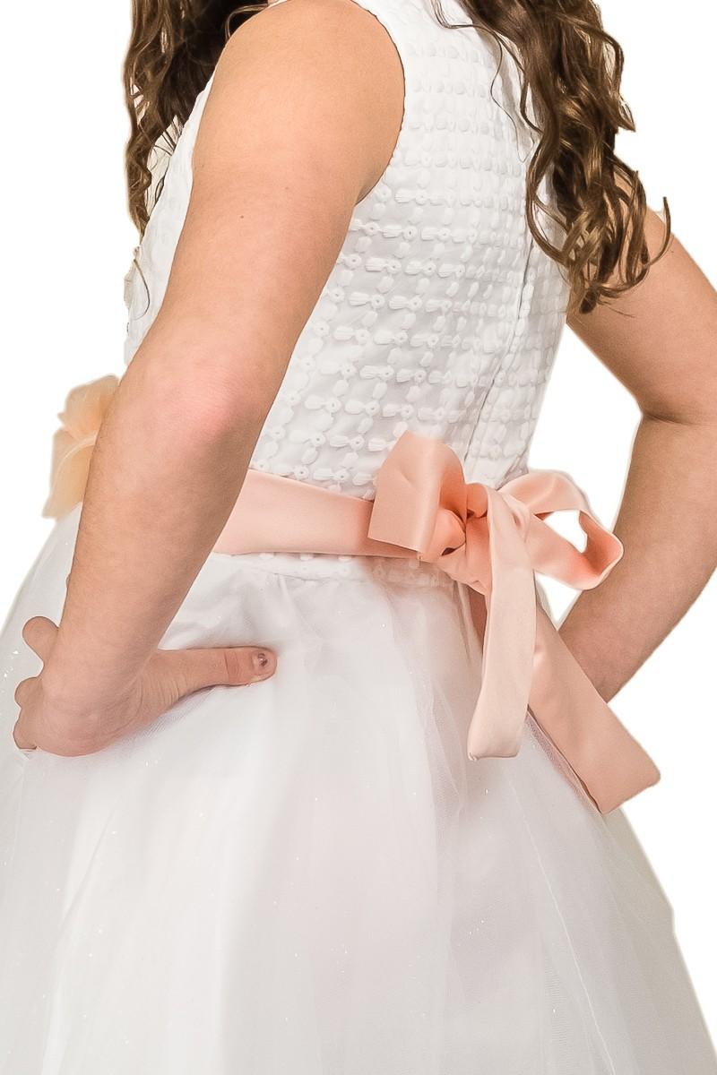Bruidsmeisjes jurk met zalm kleurige strik op de rug