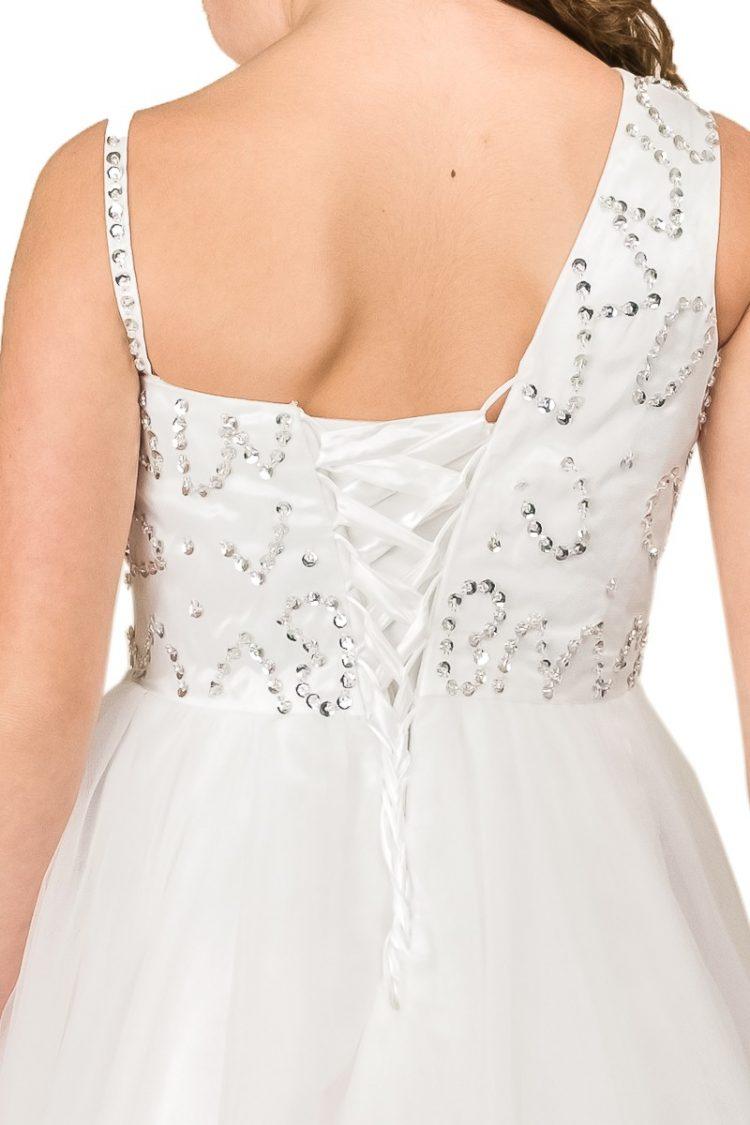 achter kant jurk met vetersluiting