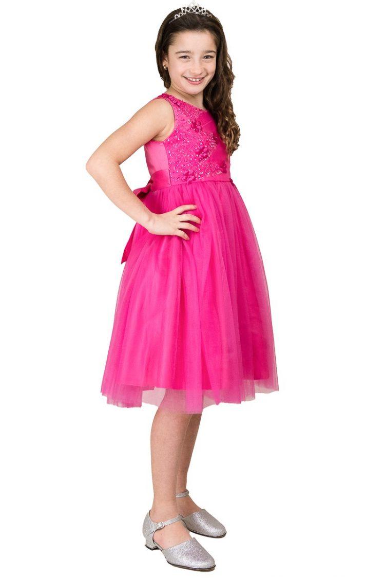 zijkant fuchsia roze jurk