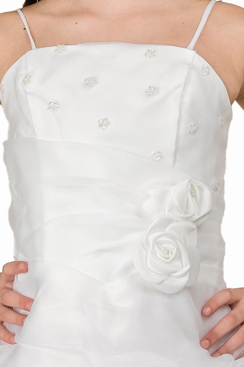 bovenlijfje jurk sabine met pareltjes en bloemen op de middel. De jurk heeft spaghetti bandjes