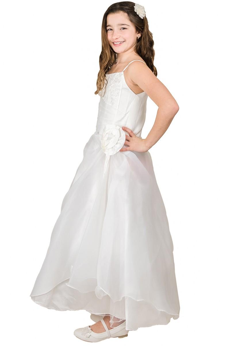 zijkant bruidsmeisjes jurk Rianne met bloem op de zij