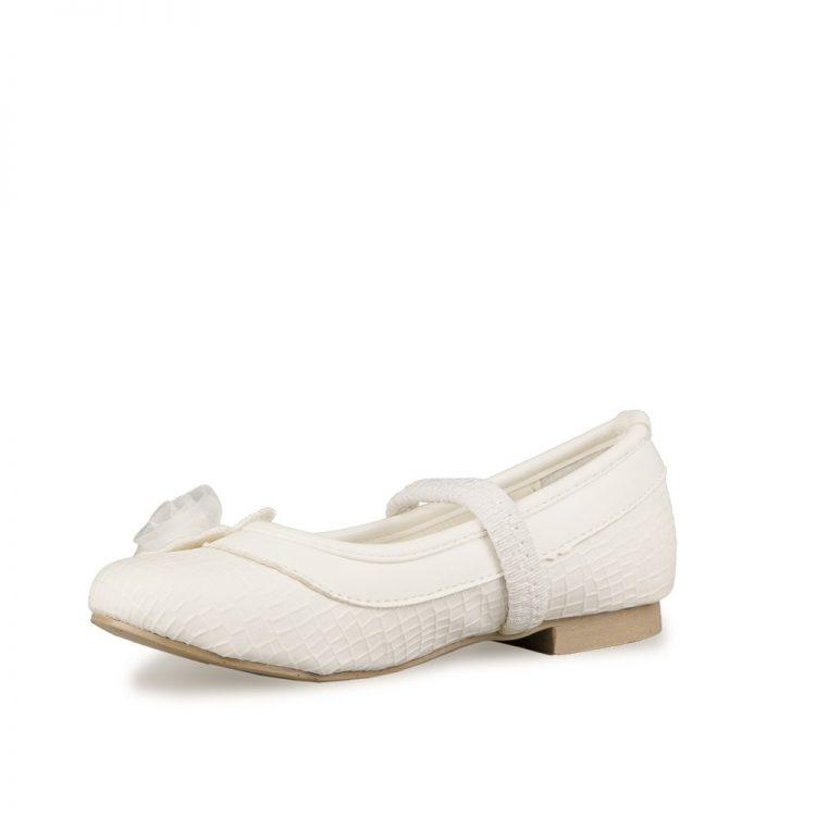 Bruidsmeisjes schoen pip in de kleur ivoor met elastiek bandje over de voet