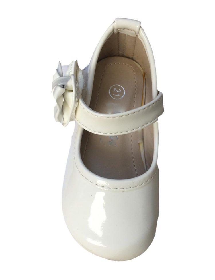 Baby bruidsmeisjesschoen strik in de kleur ivoor