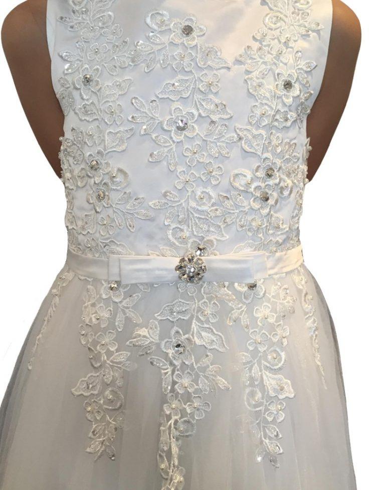 bovenlijfje jurk met geborduurde bloemen en pailletten