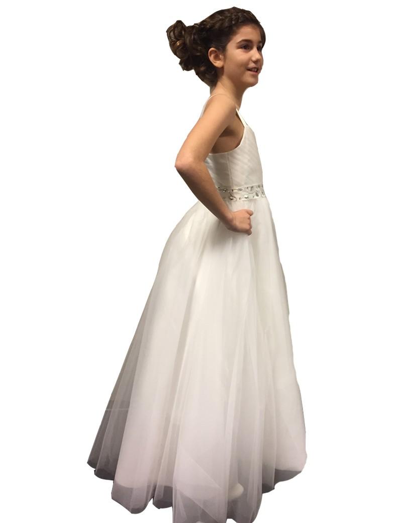 zijkant bruidsmeisjes jurk cindarella. De rok valt tot bijna op de grond