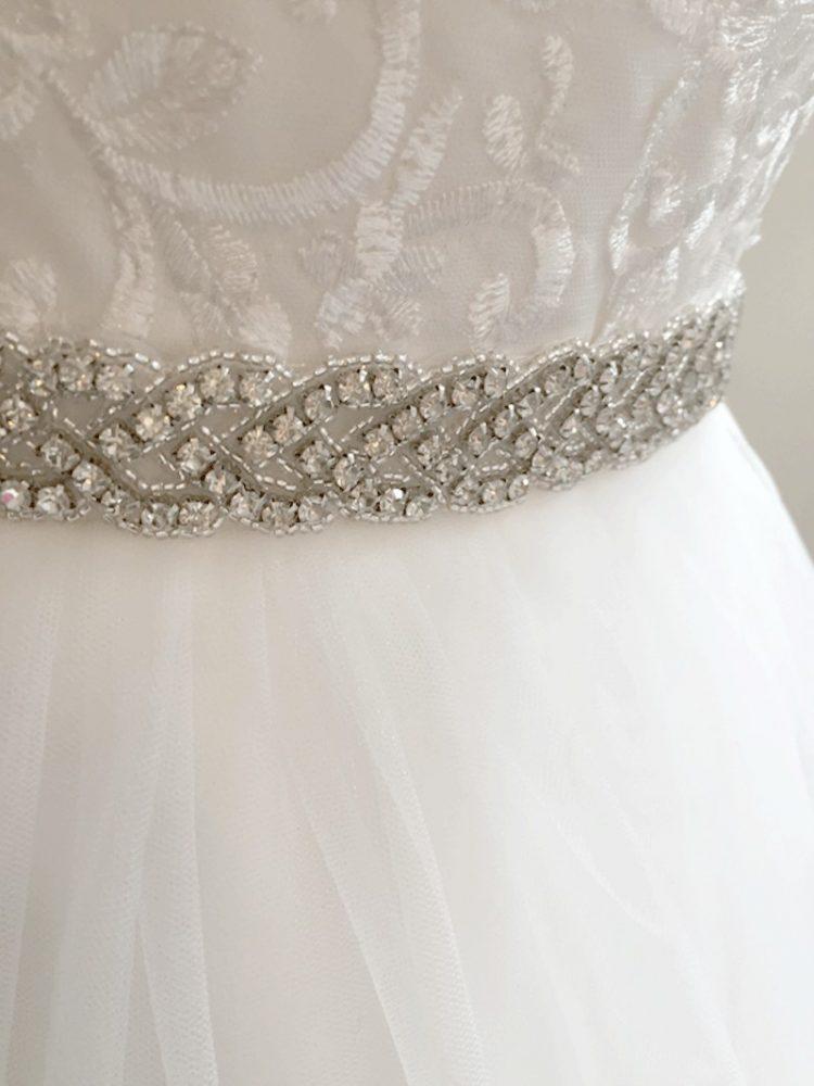 zilverkleurig strass riemje voor een bruidsmeisjesjurk
