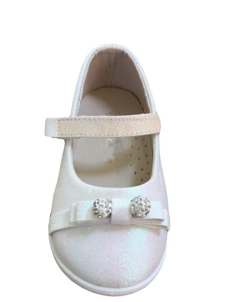 baby schoentje ivoor kleurig met glittertjes