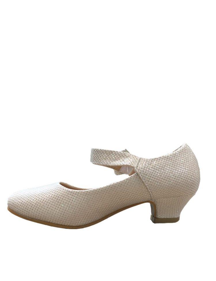 bruidsmeisjes glitter schoentje met een klein hakje